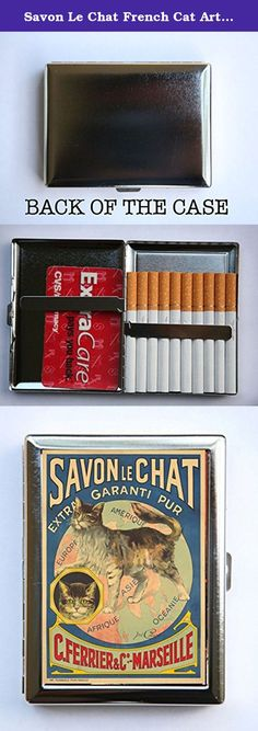 """Savon Le Chat French Cat Art Nouveau Poster Cigarette Case id case Wallet Business Card Holder. Case hold about 18 to 20 cigarettes. Or you can hold Ids, business cards or other things. The case is metal with two hinged side. This case opens through a side push button. The size of the case is 4 1/4"""" tall by 3 1/4"""" inches wide closed by 1/2"""" deep. Image is protected by clear epoxy."""