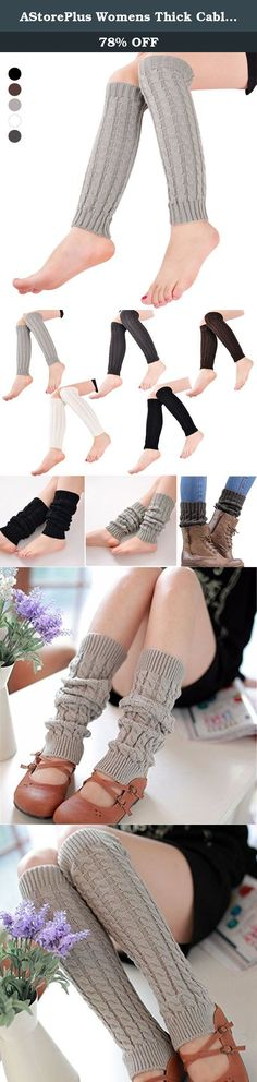 AStorePlus Womens Thick Cable Knit Leg Warmers Winter Knitted Crochet Long Hosiery Boot Socks, Light Gray. Use as a leg warmer, pull down for a scrunch sock look,pull up to thigh as leg warmer,or over your shoe for a boot look. Suit young girls,women. Very warm and fashionable to wear, protect your legs well.
