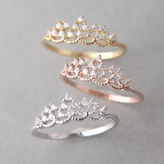 CZ Princess Tiara Ring Gold from Kellinsilver.com – tiara engagement ring, tiara wedding ring