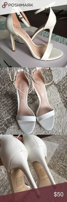 Aldo Paules Leather Sandals - White Size US 6.5 or 7/ Euro 37; brand new with original box. Excellent condition - no scratches and no stains. This pair of chic and feminine looking shoes never go out of style! Aldo Shoes Sandals