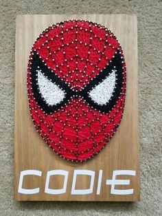 Spiderman string art sign