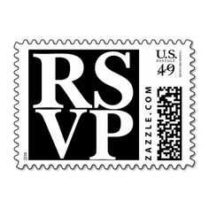 R.S.V.P Black And White Wedding Postage Stamps $23.15/20