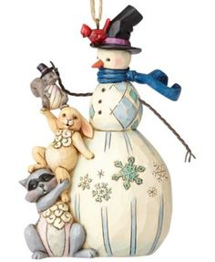 Jim Shore Snowman with Woodland Animals Ornament