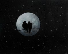 Love Birds, Original Painting, Birds On A Wire, Moon and Stars, Wall Art Canvas 50cm x 40cm