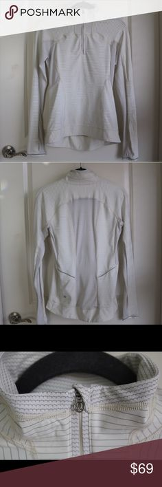 lululemon athletica 1/2 Zip S/Size 6 This lululemon half zip is a great piece to work out in or just to run errands in. It is light, thin, and cream with stitched silver stripes. It is in great condition. It is size small (size 6 in lululemon sizing). lululemon athletica Tops Sweatshirts & Hoodies