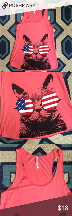 Cool cat American Flag Sunglasses Tank 🎀 NWOT (Items from my online boutique -- did not come with tags) flowy, flirty tank top.  Coral color. Cat with flag sunglasses. Too cute. 😂 Tops Tank Tops