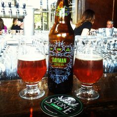 Stone Brewing Co.'s Dayman Coffee IPA Collabo by Aleman and Two Brothers. Great subtle taste of roasted coffee follows a hop overload! @ Stone Brewing Company in Escondido, CA.