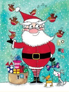 Pack of 5 - Rachel Ellen Designs - Christmas Cards - Santa and Robins http://www.stationeryheaven.nl/Christmas/xmas