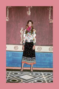 Bomber Jacket and middi skirt Gucci Prefall 2016