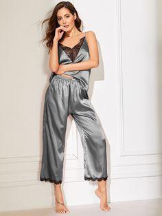 Floral Lace Satin Cami PJ Set Silk Sleepwear, Lingerie Sleepwear, Lingerie Set, Nightwear, Women Lingerie, Satin Pyjama Set, Satin Pajamas, Pajama Set, Pyjamas