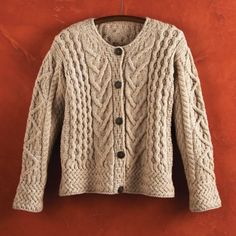 Merino wool in a sampler of Irish Aran stitch patterns.