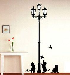katzen deko Straßenlampe Wanddekoration