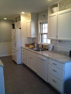 Awesome Kitchen Remodel W/ Stock Unfinished Home Depot Cabinets Painted White And  Stock Laminate Counter Tops