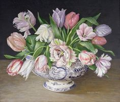 Parrot Tulips in Blue Bowl (Galley)