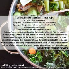Viking Recipe - Nettle and Meat Soup Medieval Recipes, Ancient Recipes, Nordic Diet, Viking Food, Soup Recipes, Cooking Recipes, Cooking Ideas, Food Ideas, Nordic Recipe