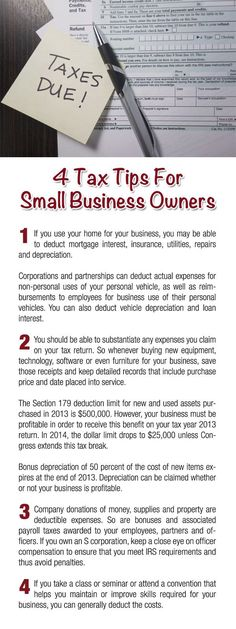 4 Tax Tips for Small Business Owners  #tips #taxes #taxtime Income tax tips, tax return tips