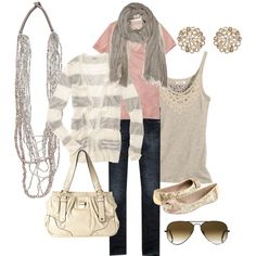 pink and gray, created by bradierenee on Polyvore