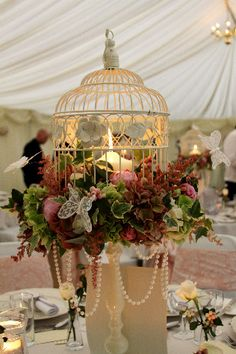 New Wedding Centerpieces Lanterns Fall Pearl Flower Ideas Bird Cage Centerpiece, Lantern Centerpiece Wedding, Wedding Centerpieces, Wedding Table, Wedding Decorations, Centrepieces, Wedding Ideas, Decoration Table, Tree Decorations