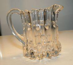 """EAPG 1890s era Creamer pitcher, """"Broken Column"""" pattern, also called """"Bamboo"""" or """"Ribbed Fingerprint"""", 4.5""""H"""