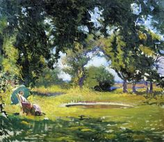 Edmund Charles Tarbell - Seated Woman by a Pond (aka My Wife in a Garden)