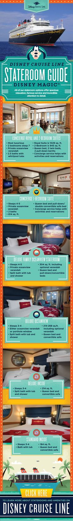 [CREATIVE TO CHANGE] All Disney Cruise Line stateroom options offer spacious relaxation, famous Guest service and incredible attention to detail. Check out this handy guide to see which stateroom is best for your family onboard the Disney Wonder!