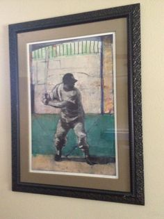 """Artist Ron Pokrasso, series of three images depicting the swing of Mickey Mantle. Image approx 35"""" x 23"""" (framed 36 1/2"""" x 48""""). """"Now batting, Number Seven, Mickey Mantle"""""""