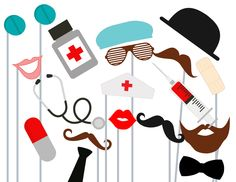 Items similar to Nurse Photo Booth Props, 15 Pc Medical Photobooth Set, Photo Props for Wedding, Doctor Party Games on Etsy Photo Booth Party Props, Baby Shower Photo Booth, Photo Props, Bridal Shower Photos, Bridal Shower Games, Bachelorette Photo Booth, Doctor Party, Nurse Photos, Nurse Party