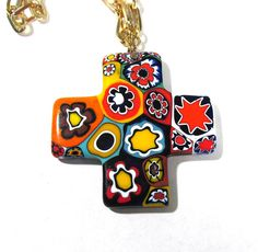 Murano Millefiori Greek Cross Necklace VINTAGE Millefiori Venetian Glass Mosaic Necklace Cross Religious Jewelry Vintage 70s Jewelry (T62) by punksrus on Etsy