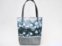 grauer Wildleder Shibori Shopper / Tote Bag