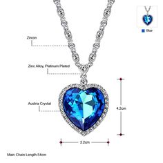 Neoglory Made with Swarovski Elements Three Colors Crystal Heart Pendant Necklace 21' *** Read more reviews of the product by visiting the link on the image. (This is an affiliate link) #Jewelry