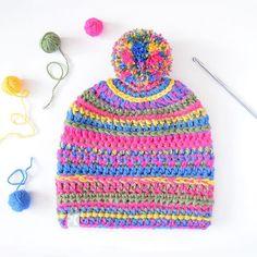 Mixed stitch crochet slouchy pompom beanie 💛💚💙💗www.kbeanies.com