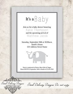 Unisex Grey Elephant Baby Shower Invitation  by StorkDelivery, $13.00
