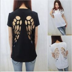 $9 for 2 Laser Cut Angel Wing T-Shirts This listing is for 2 Laser Cut Angle Wing T-Shirts. You will receive 1 Black & 1 White (White T-Shirt has a bit of a tint to it). These T-Shirts are new but have no tags or packaging. They are available in Xtra Small, Small or Medium. Please select the size you will need. Tops Tees - Short Sleeve