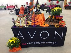 Create a fabulous fall display with Avon Halloween and Fall line by adding some fun fabrics and colorful mums. Don't forget to put batteries in everything to show the true colors!