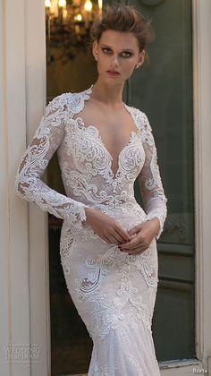 berta fall 2016 bridal long sleeves queen anne neckline deep v neckline beautiful trumpet mermaid wedding dress