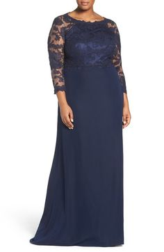 Tadashi Shoji Lace Tulle & Crepe A-Line Gown (Plus Size) available at…