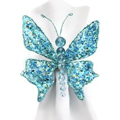 Set of 4 Jewel Butterfly Napkin Rings