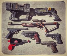 l1b3rtyprime: Here is all of my Pistols in a group photo. Technically the Fallout 4 pipe rifle is well a rifle but it feels like a pistol to me. The first is the AEP7 laser pistol Fallout 4 laser pistol Fallout 4 pipe rifle Fallout New Vegas silenced .22 Fallout New Vegas GRA That Gun Fallout Tactics M9FS 9mm Fallout 4 Nuka Zapper and Fallout New Vegas Honest Hearts A Light Shining in Darkness.
