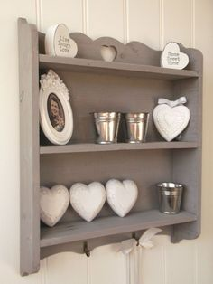 It has 3 shelves with a pretty cut out heart detail at the top shelf. There are 2 handy hooks situated along the bottom of the shelf ideal for keys etc. Finished in an antiqued grey wash with the natural wood grain showing in places, this shelf makes an ideal display unit for any room in the home and would suit a modern or traditional interior. | eBay!