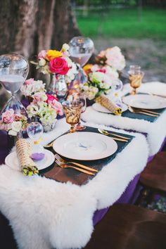 tile placemats // photo and event design by Renee Nicole Design + Photography - View more http://ruffledblog.com/time-travelers-wife-wedding-ideas/