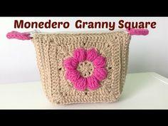 Monedero a crochet con boquilla, con granny squares - YouTube