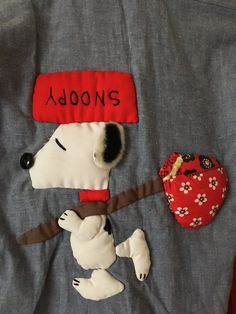 Vintage Snoopy & Woodstock w/ Bindle Sewn Applique on Women's Blue Western Shirt Size 12 1970s Craft Charles Schulz Peanuts by vintagebaron on Etsy