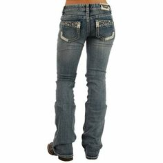 Rock & Roll Cowgirl epitomizes the fashion-forward style of the rockin' cowgirl. These medium wash jeans from Rock & Roll Cowgirl are a boot cut fit. On the back pockets of this jean, a side slant seam is placed. Inside of that seam, metal and crystal-ed detailing. The side seams, back yoke, and front pockets have heavy silver stitching. These jeans have a 98% cotton and 2% spandex (stretch).