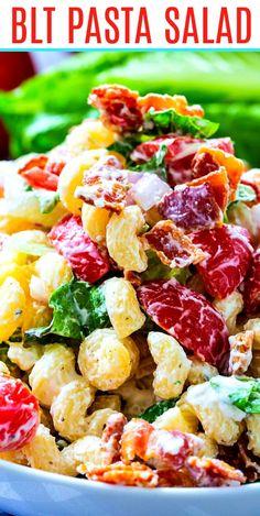 Creamy Pasta Salads, Blt Pasta Salads, Summer Pasta Salad, Savory Salads, Pasta Salad Recipes, Pasta Salad Ingredients, Summer Recipes, Healthy Dinner Recipes, Vegetarian Recipes