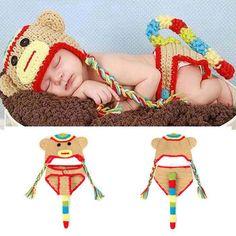 Lovely Sock Monkey Baby BOYS Crochet Photo Props Boy Knitted Hats Diaper Set Bebe Fotografia Props Halloween Costume  #Affiliate
