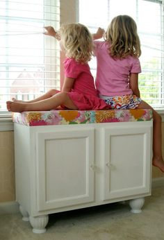 DIY window seat from kitchen cabinets. So cool.