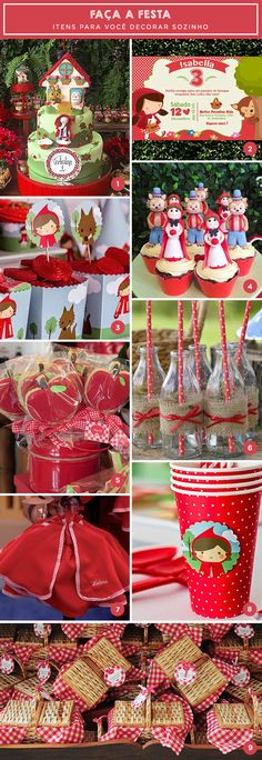 Faça a festa: tema Chapeuzinho Vermelho Baby First Birthday, Girl Birthday, Birthday Event Ideas, Red Riding Hood Party, Little Red Ridding Hood, Fairytale Party, Red Party, Festa Party, Girl Cakes