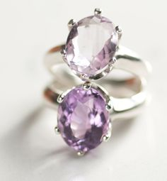 Amethyst ring solitaire size 7 14 x 10mm by Duskfall on Etsy