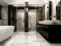 Luxury Bathrooms, Marble baths, marble floors, walk in showers.