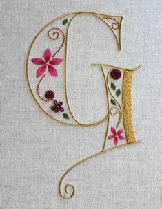 Hand Embroidery Silk and Gold Monogram class Royal School of Needlework Embroidery Letters, Silk Ribbon Embroidery, Crewel Embroidery, Hand Embroidery Patterns, Cross Stitch Embroidery, Machine Embroidery, Embroidery Designs, White Embroidery, Embroidery Thread